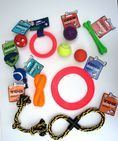 ASSORTED SET OF 11 DOG SQUEAKY CHEW ROPE BALL FUN PLAY TRAINING TOYS